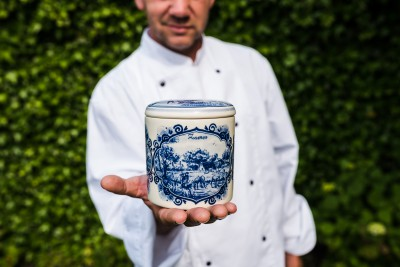 Stroopwafelpot aardewerk 'Seizoenen' (Delftsblauw)