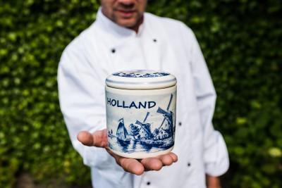 Stroopwafelpot aardewerk 'Holland' (Delftsblauw).